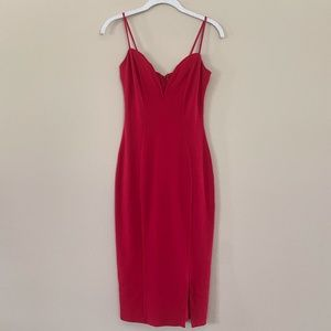 CHARLOTTE RUSSE - Red Deep-V Midi Bodycon w/ Slit